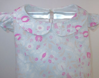 ROSIE - Denim Floral Dress - Size: 2T, Blue, Pink, Girls' Clothing, Dresses, Toddler, Girl's Dress, Birthday, Gift, Cotton, Handmade