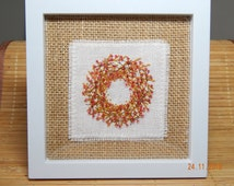 Embroidered picture/Christmas Embroidered miniature Wreath