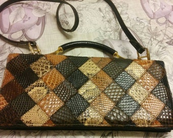 Real snake skin and leather handbag/purse. Vintage. Removable long strap. Taxidermy. Scales.