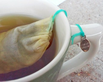 Reusable Tea Bag, Charm Weight,  Handmade, Unbleached, Drawstring, Eco Friendly, Loose Herbal Tea (1 Bag)