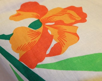 White Cotton Towel with Painting, Vintage Cotton Towel, BSSR