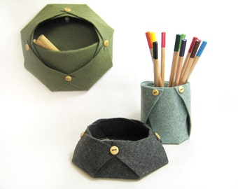 desk organizer / set of two / felt pen holder / handmade