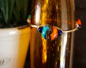 Orange/Blue Beaded Wire Bangle
