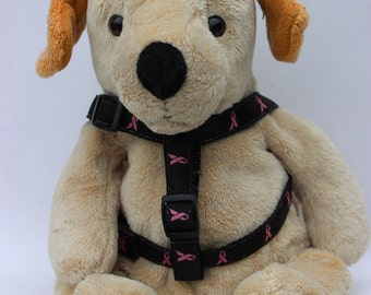 Breast Cancer Awareness Black Step-In Dog Harness