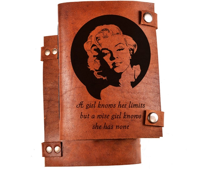 Marilyn Monroe notebook - Monroe notepad - leather journal - Marilyn Monroe quotes - Marilyn Monroe gift - notepad