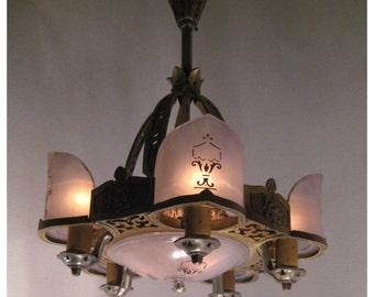 A3546  Antique 1920's-1930's Tudor, Mediterranean Style Art Deco Hanging Ceiling Light Fixture Pendant Chandelier