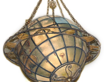 A4444 Vintage Historic World Globe Chandelier with Zodiac Ring Hung in Railroad Station
