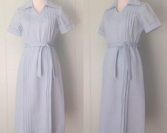 1970s Bleeker Street Dress | 70s Blue Pintucked Dress | Vintage Blue Belted Shift Dress