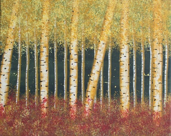 Birch Trees Fall Forest - Acrylic Painting on Canvas