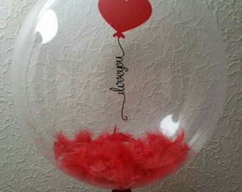 Red Feather I Love You Helium Bubble