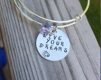 Adjustable Bangle Bracelet // Quote bracelet hand stamped//Live your Dreams // Bracelet for Her.