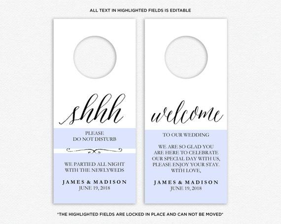 Wedding Door Hanger Template Do Not Disturb Printable