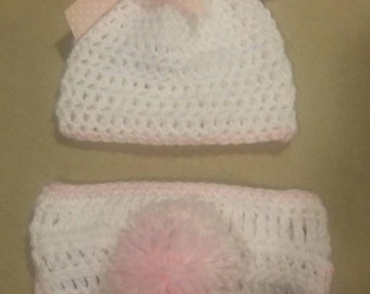 Baby bunny diaper cover and hat