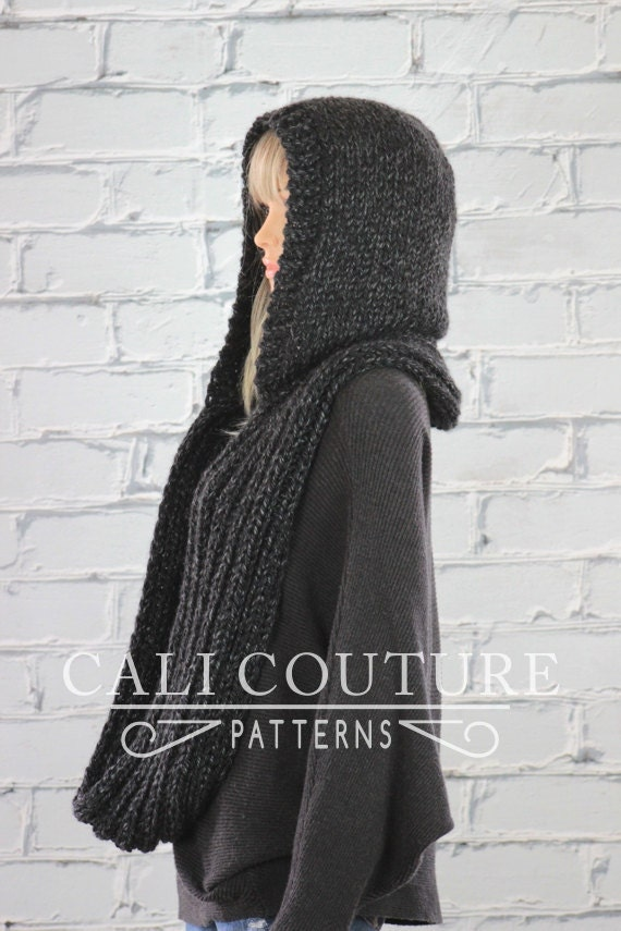 Montreal Hooded Scarf Pattern #32 - Knit Hooded Infinity Scarf Pattern - Knit...