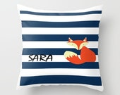 Sea Fox Throw Pillow, Personalized Cover and Insert 16x16 18x18 20x20 Home Living Bed Pillow Decor Pillow Sea Pillow Fox Pillow Blue Pillow