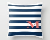 Sea Initial Throw Pillow, Personalized Cover and Insert 16x16 18x18 20x20 Home Living Bed Pillow Decor Pillow Sea Pillow Blue Pillow