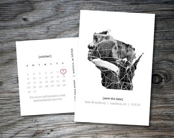 Wisconsin Save the Date, Printable Save the Date, Postcard, Calendar on Back, DIY, Save Our Date, State Outline, Wisconsin Wedding, Photo