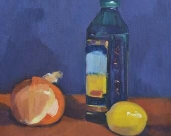 Olive Oil still life, oil painting, realism, kitchen art, kitchen decor, food art, impressionism