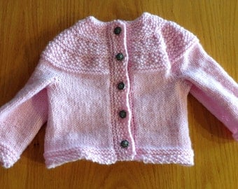 Pink baby girl hand knitted sweater. Size 12-18 months.