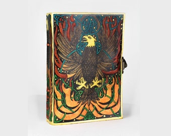 Free Shipping! Handmade Leather Journal Eagle Pheonix Griffon Bird with Latch