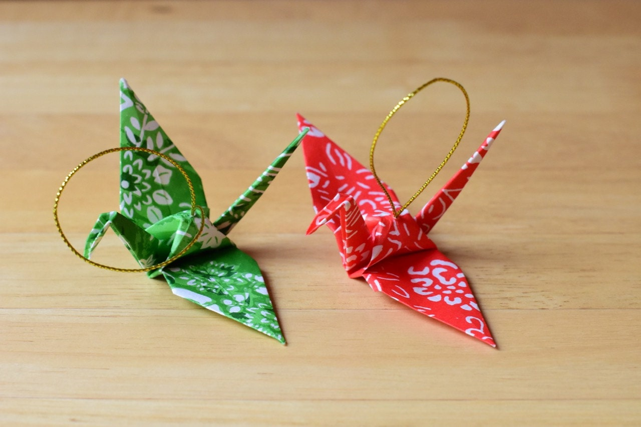 Set of Two Japanese Origami Crane Ornaments - photo#22