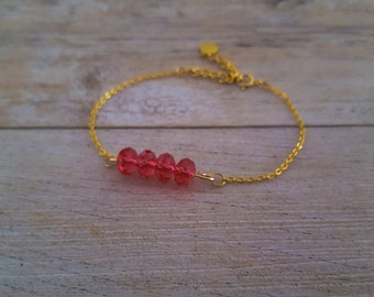 Raspberry Bracelet, gold plated and swarovski crystals, hand made