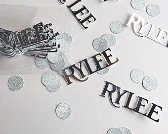 Name confetti.  Silver foil and glitter confetti.  Custom confetti.  Name confetti.   Birthday confetti.  Wedding confetti.  Party confetti.