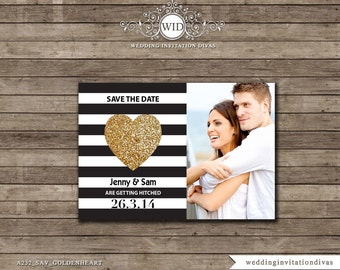 Wedding Save The Date Card, Save the Date Photo Card,  Black & White Striped Save The Date Card