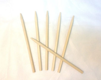 "100 Caramel Candy Apple Sticks Semi-Pointed Birch Hardwood Skewers 5.25"" x 1/4"" Corn Dog, Crafts, Dowel"
