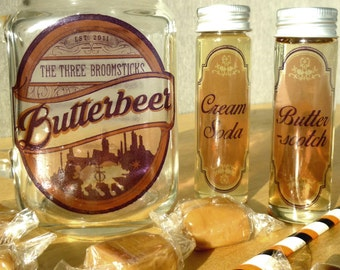 Harry Potter Butterbeer Recipe Mason Jar Mug Filled with Vanilla Fudge and Butterscotch Syrup