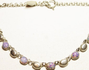 REDUCED! Vintage Elegant Opal Necklace, Approx. 7 CT TW, set in Sterling Silver