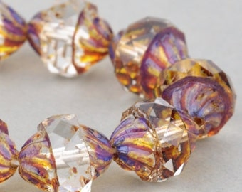 Czech Glass Beads - Crystal Picasso Beads - Spiral Central Cut Beads - Crystal Transparent with Picasso Beads - 12x10mm Beads - 10 Beads
