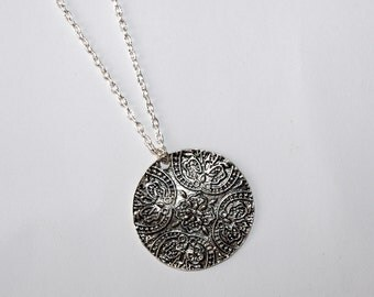Silver round pendant Coin necklace Oriental ornament jewelry Disc necklace Cord chain pendant