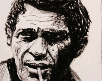 Steve McQueen - Charcoal Portrait Limited Edition Mounted Print