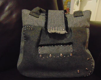 Grey Wool and Herringbone Handbag