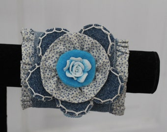 Denim and calico cuff with porcelain rose accent