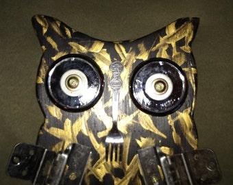 """Handmade Wood Tool Owl 9"""" x14"""""""