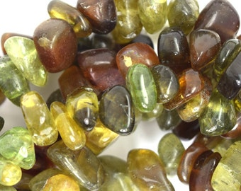 "10-14mm green garnet nugget beads 15.5"" strand 36136"