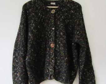 Vintage Mohair Boucle Sweater / 90s Black Cardigan / Medium M