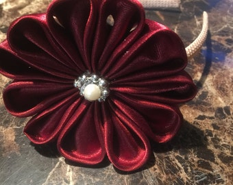 Maroon Flower Headband