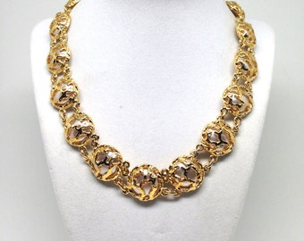 Luxurious Vintage Estate Faux Pearl Linked Gold Tone Necklace And Earrings Set