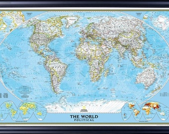 Framed world map etsy classic world map by national geographic decorative black with beaded lip frame push pins included gumiabroncs Images