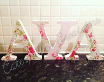Girls floral wooden letters
