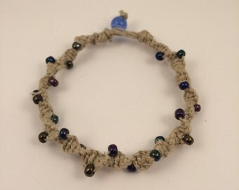 Macramae Twisted Bracelet with Oil Spill Beads