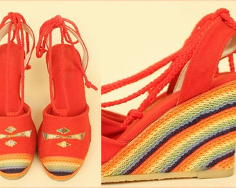 Vintage 70's Rainbow Wedge Shoes Tribal Platform Red Canvas Hippie Espadrilles BoHo Colorful Heels 7