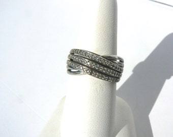 Diamond and Sterling Silver Triple Band Ring