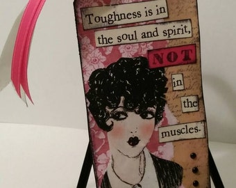 "Gift Tag, Girly, ""Toughness"" - handcrafted, distressed hang tags, pink, lady, feminine, ooak"