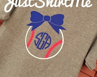 Baseball Bow with Monogram TShirt  - Your Choice of Shirt Color And Size