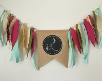 Chalk board feather banner, photo prop, wall decor, party decor, teepee topper, highchair banner, garland