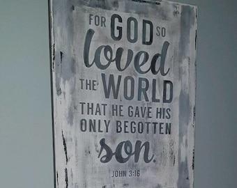 John 3:16 verse paintedon canvas